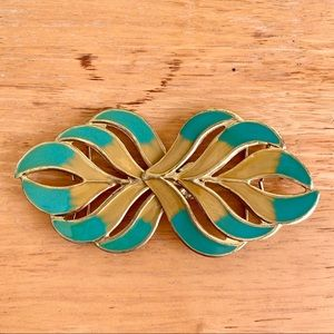 [Vintage] Two Piece Metal Belt Buckle - Feathers